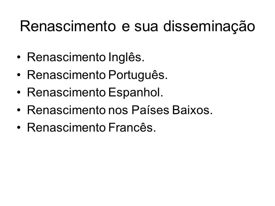 Renascimento e sua disseminação Renascimento Inglês. Renascimento Português. Renascimento Espanhol. Renascimento nos Países Baixos. Renascimento Franc