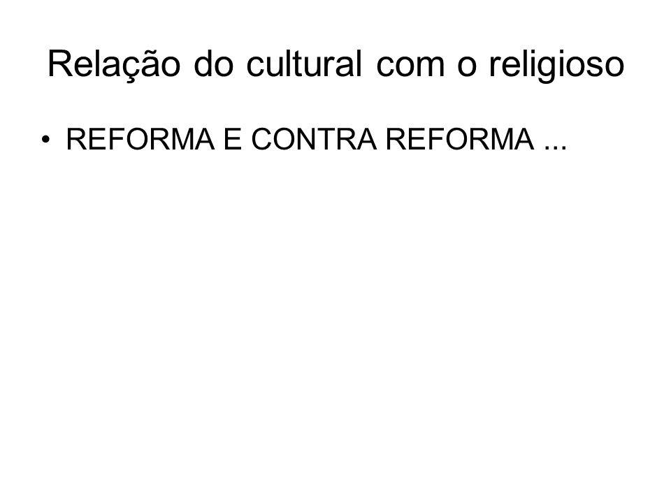 Relação do cultural com o religioso REFORMA E CONTRA REFORMA...