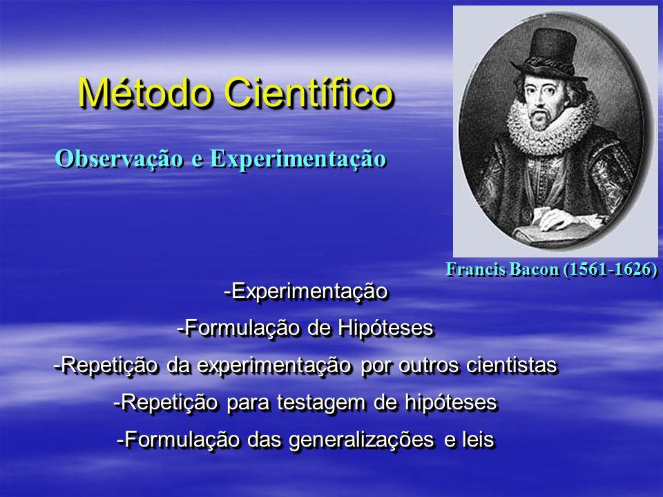 Método Científico -Experimentação -Formulação de Hipóteses -Repetição da experimentação por outros cientistas -Repetição para testagem de hipóteses -F