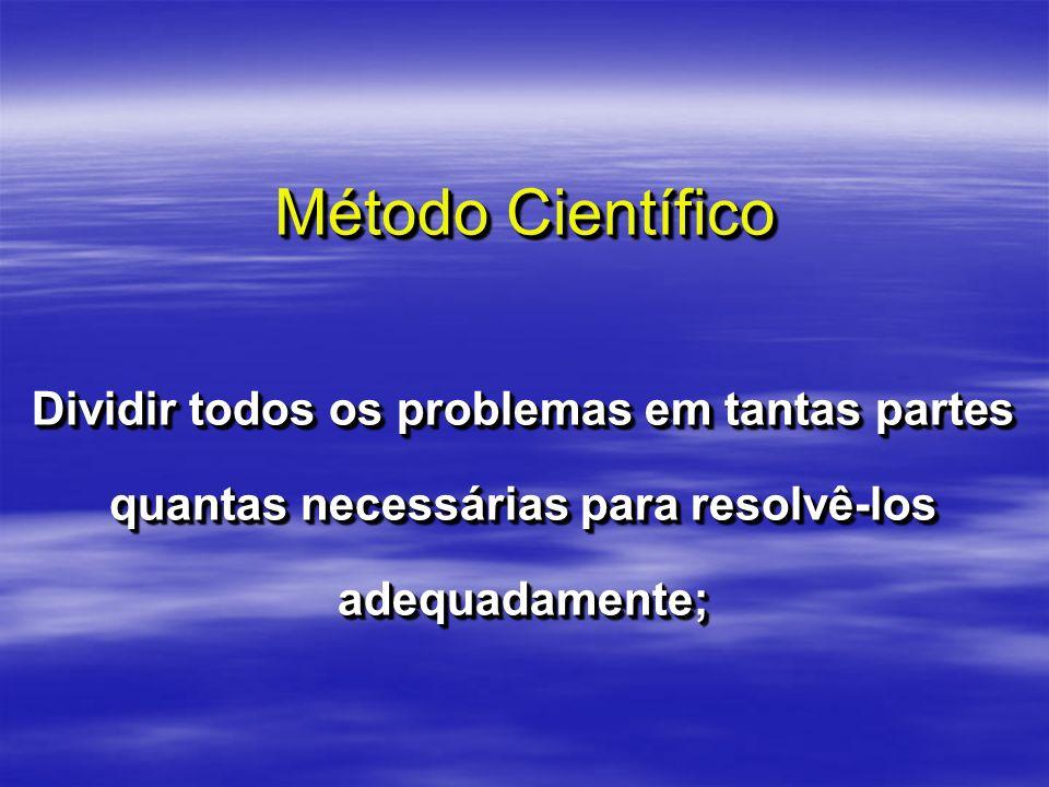 Método Científico Dividir todos os problemas em tantas partes quantas necessárias para resolvê-los adequadamente;