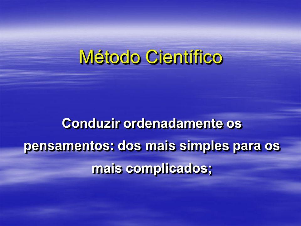 Método Científico Conduzir ordenadamente os pensamentos: dos mais simples para os mais complicados;