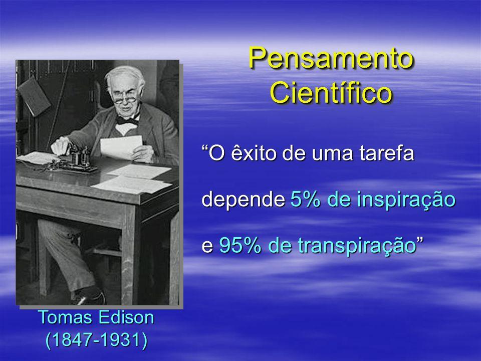 O êxito de uma tarefa depende 5% de inspiração e 95% de transpiração Pensamento Científico Tomas Edison (1847-1931)