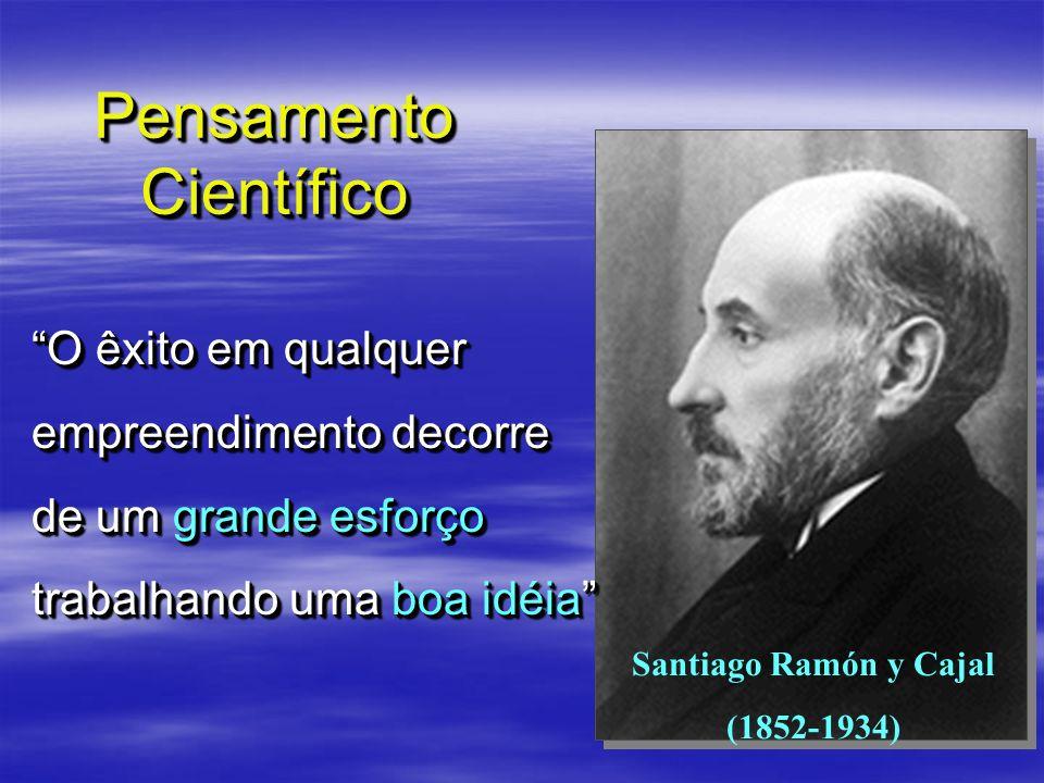 Pensamento Científico Santiago Ramón y Cajal (1852-1934) O êxito em qualquer empreendimento decorre de um grande esforço trabalhando uma boa idéia O ê
