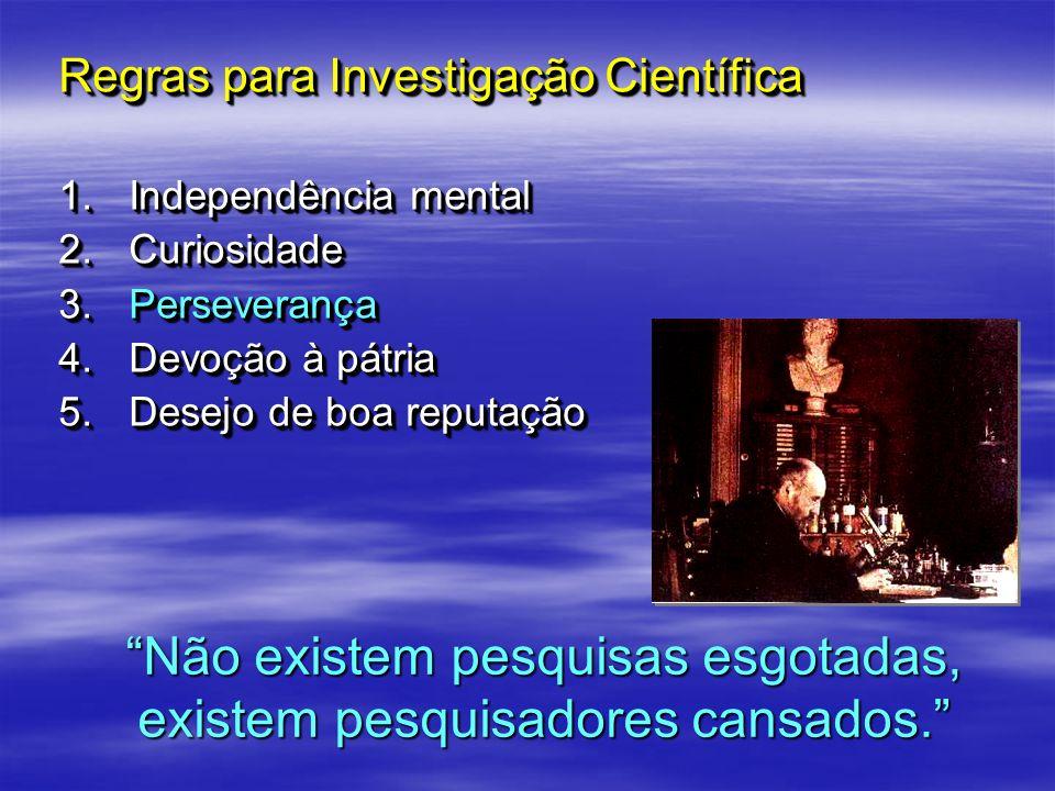 Regras para Investigação Científica 1.Independência mental 2.Curiosidade 3.Perseverança 4.Devoção à pátria 5.Desejo de boa reputação Regras para Inves