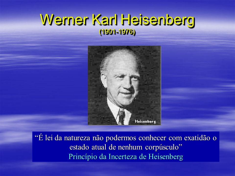 Werner Karl Heisenberg (1901-1976) É lei da natureza não podermos conhecer com exatidão o estado atual de nenhum corpúsculo Princípio da Incerteza de