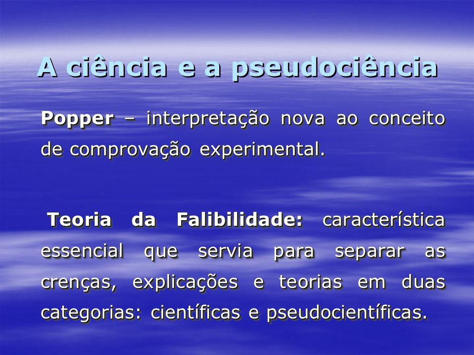 Popper – interpretação nova ao conceito de comprovação experimental. Teoria da Falibilidade: característica essencial que servia para separar as crenç