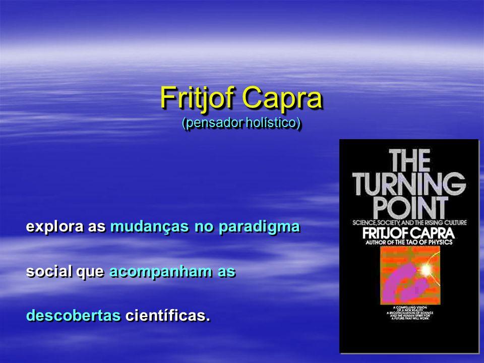 Fritjof Capra (pensador holístico) explora as mudanças no paradigma social que acompanham as descobertas científicas.