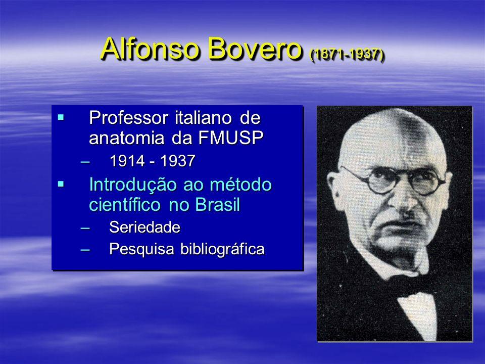 Alfonso Bovero (1871-1937) Professor italiano de anatomia da FMUSP Professor italiano de anatomia da FMUSP –1914 - 1937 Introdução ao método científic