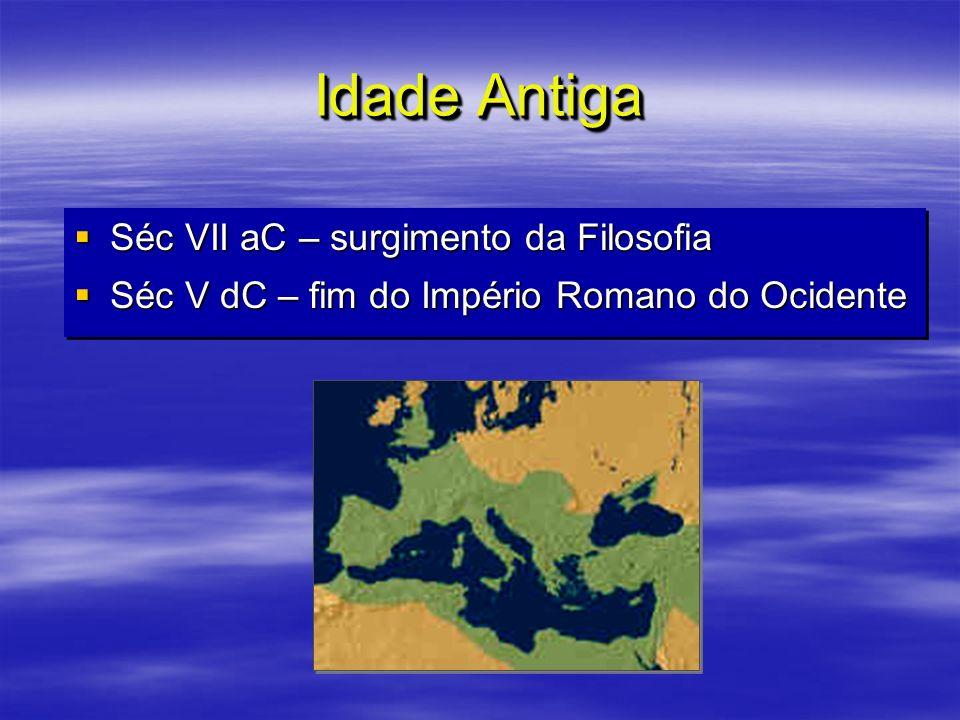 Idade Antiga Séc VII aC – surgimento da Filosofia Séc VII aC – surgimento da Filosofia Séc V dC – fim do Império Romano do Ocidente Séc V dC – fim do