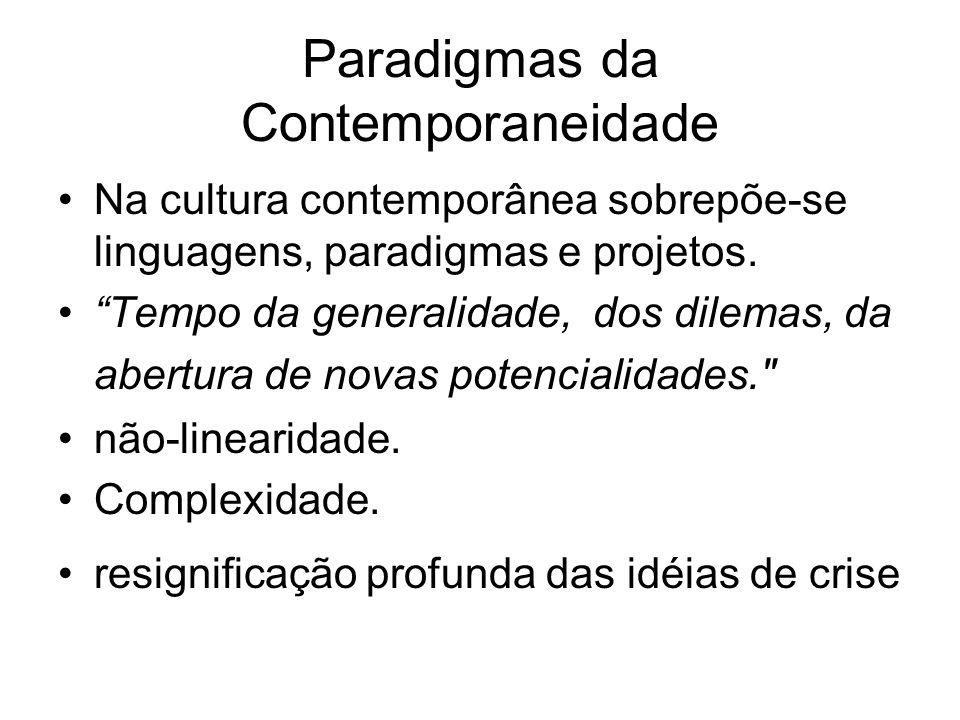 Paradigmas da Contemporaneidade Na cultura contemporânea sobrepõe-se linguagens, paradigmas e projetos. Tempo da generalidade, dos dilemas, da abertur