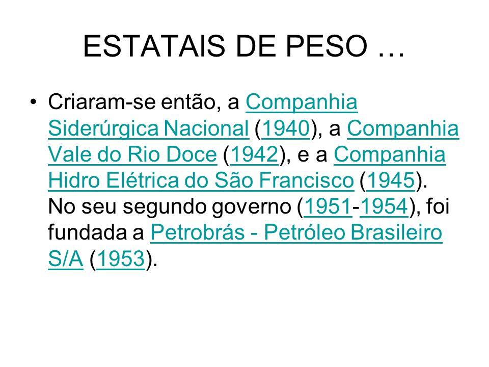 ESTATAIS DE PESO … Criaram-se então, a Companhia Siderúrgica Nacional (1940), a Companhia Vale do Rio Doce (1942), e a Companhia Hidro Elétrica do São