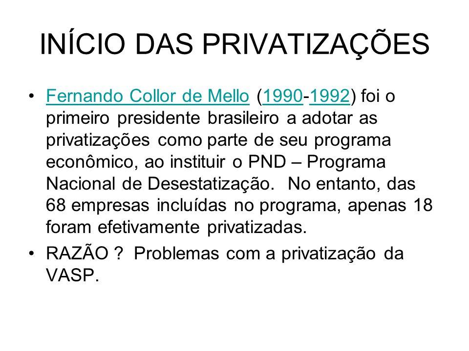 INÍCIO DAS PRIVATIZAÇÕES Fernando Collor de Mello (1990-1992) foi o primeiro presidente brasileiro a adotar as privatizações como parte de seu program