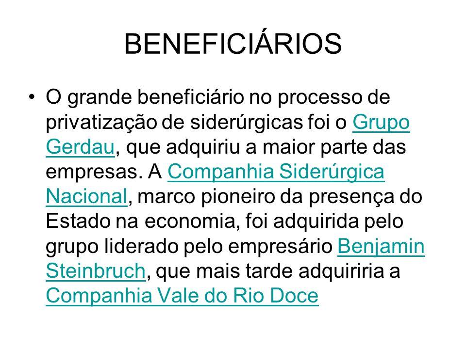 BENEFICIÁRIOS O grande beneficiário no processo de privatização de siderúrgicas foi o Grupo Gerdau, que adquiriu a maior parte das empresas. A Companh
