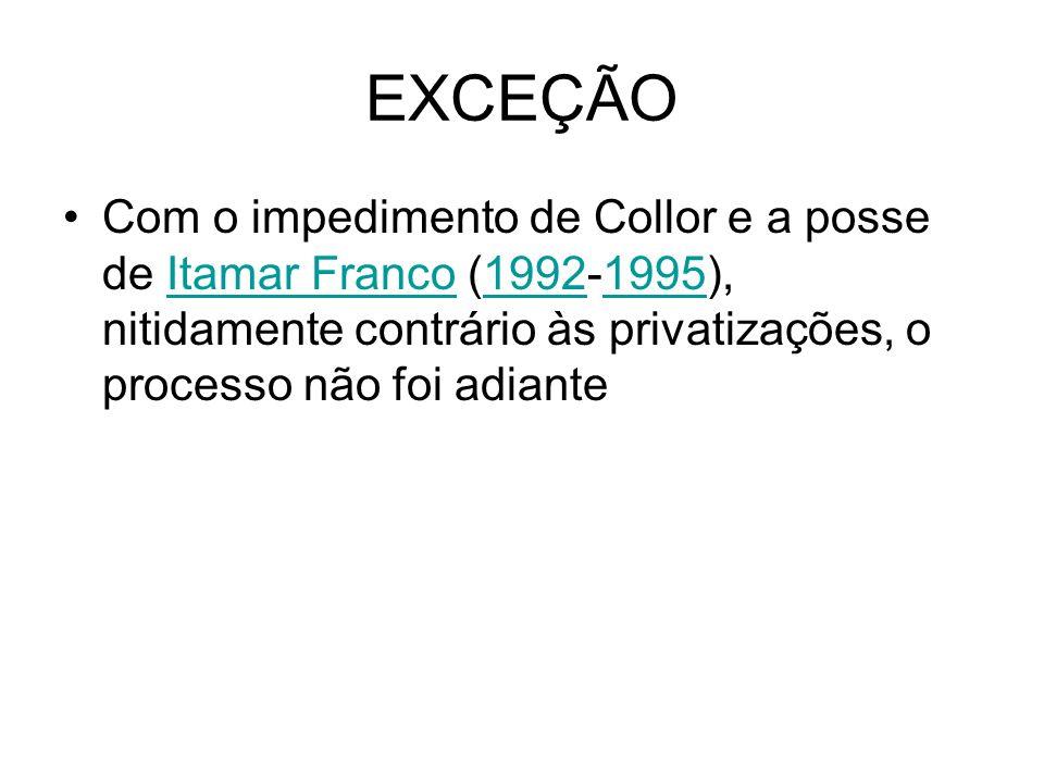 EXCEÇÃO Com o impedimento de Collor e a posse de Itamar Franco (1992-1995), nitidamente contrário às privatizações, o processo não foi adianteItamar F