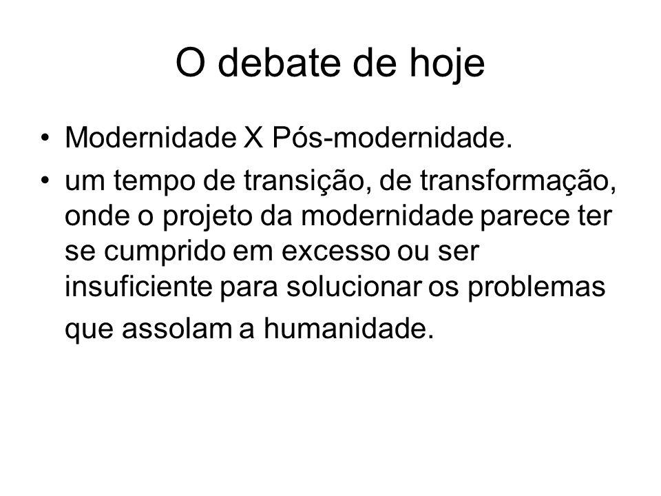 O debate de hoje Modernidade X Pós-modernidade. um tempo de transição, de transformação, onde o projeto da modernidade parece ter se cumprido em exces