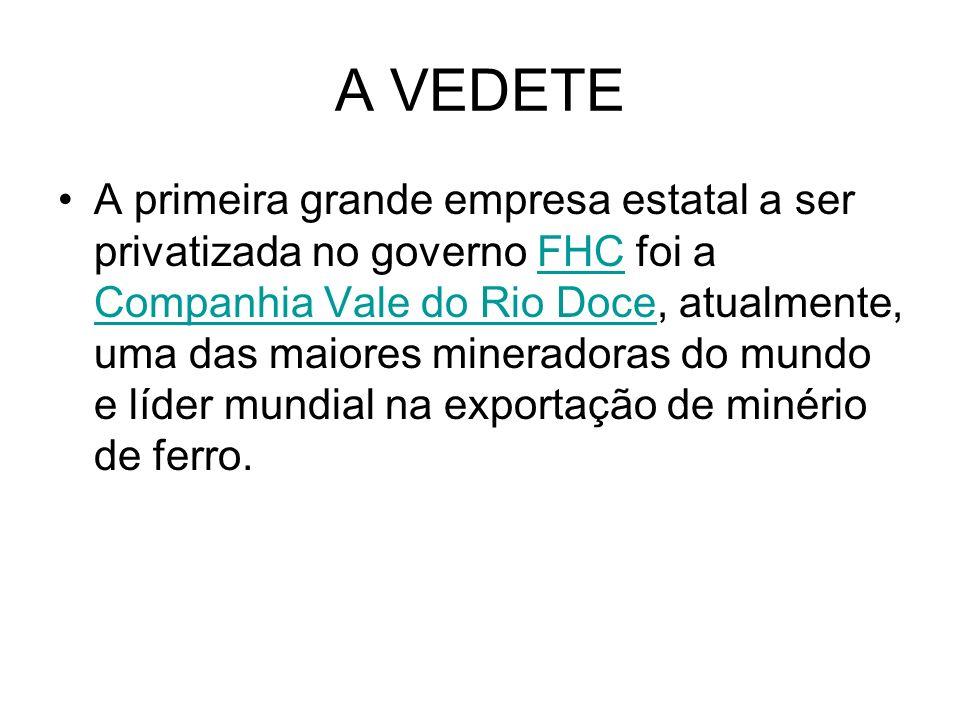A VEDETE A primeira grande empresa estatal a ser privatizada no governo FHC foi a Companhia Vale do Rio Doce, atualmente, uma das maiores mineradoras