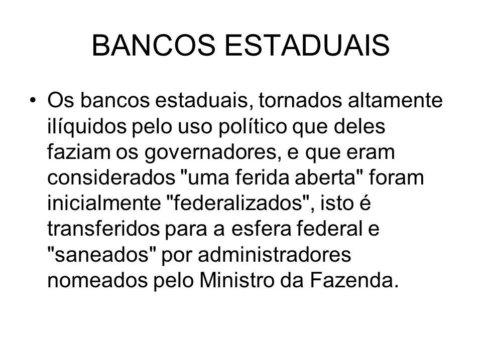 BANCOS ESTADUAIS Os bancos estaduais, tornados altamente ilíquidos pelo uso político que deles faziam os governadores, e que eram considerados