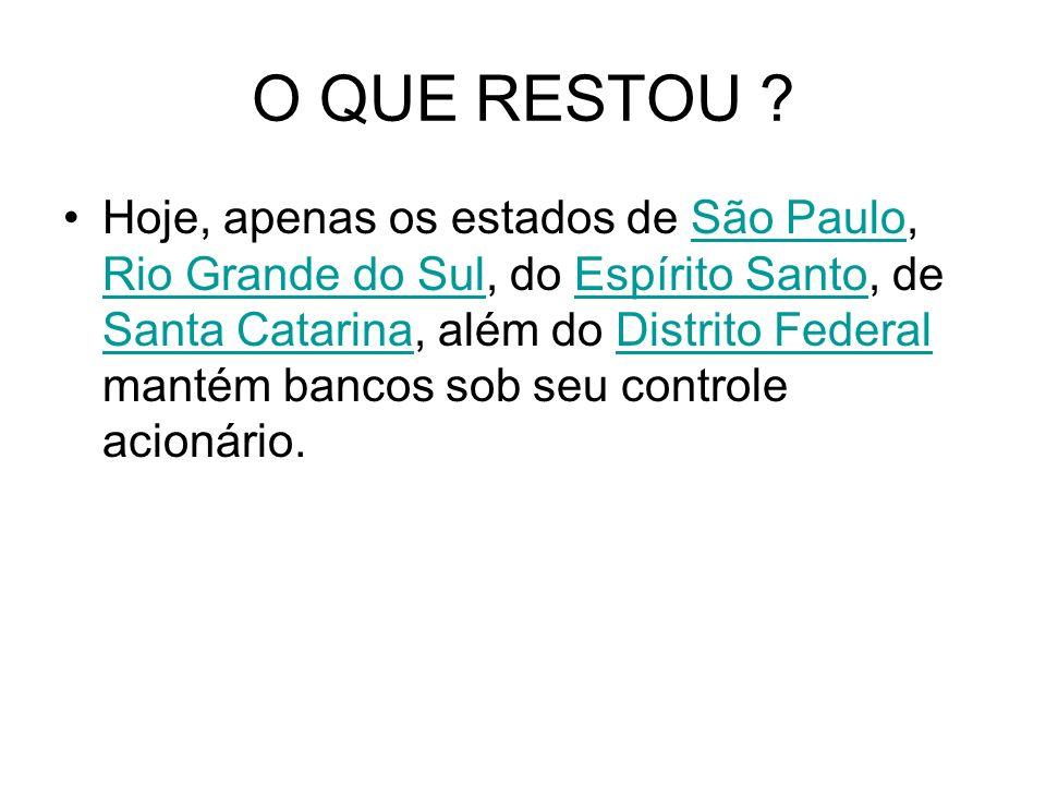 O QUE RESTOU ? Hoje, apenas os estados de São Paulo, Rio Grande do Sul, do Espírito Santo, de Santa Catarina, além do Distrito Federal mantém bancos s