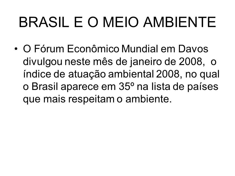 BRASIL E O MEIO AMBIENTE O Fórum Econômico Mundial em Davos divulgou neste mês de janeiro de 2008, o índice de atuação ambiental 2008, no qual o Brasi