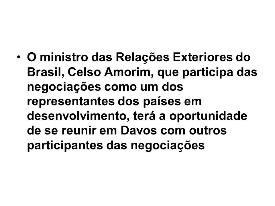 O ministro das Relações Exteriores do Brasil, Celso Amorim, que participa das negociações como um dos representantes dos países em desenvolvimento, te