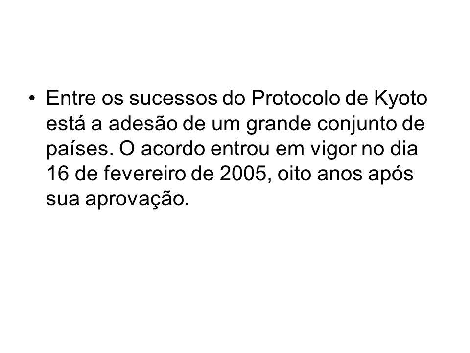 Entre os sucessos do Protocolo de Kyoto está a adesão de um grande conjunto de países. O acordo entrou em vigor no dia 16 de fevereiro de 2005, oito a