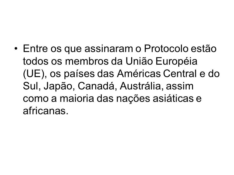 Entre os que assinaram o Protocolo estão todos os membros da União Européia (UE), os países das Américas Central e do Sul, Japão, Canadá, Austrália, a