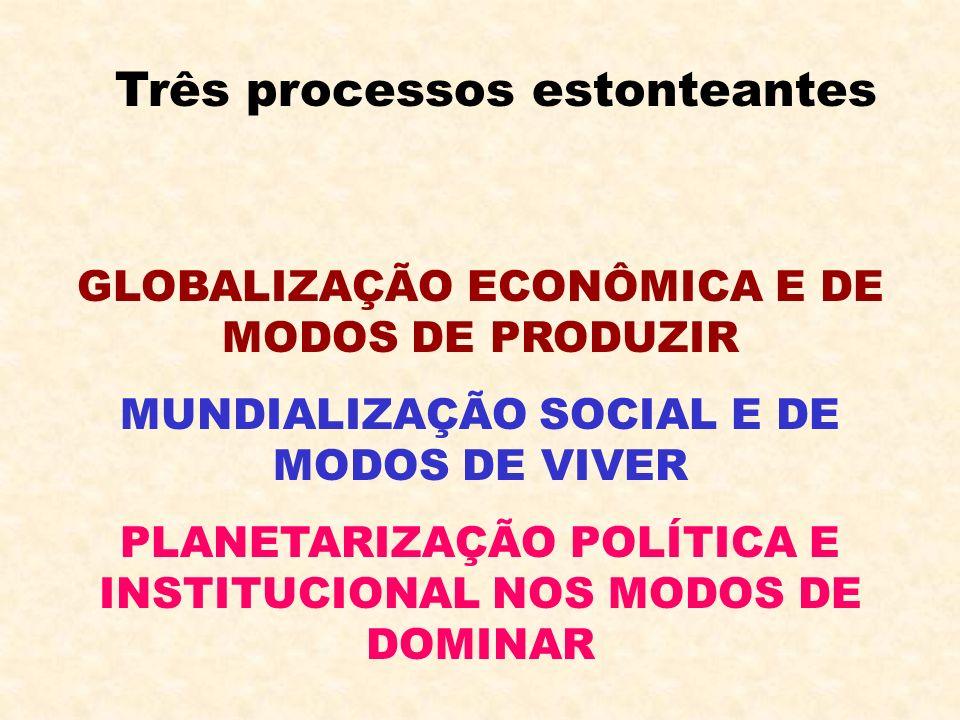 Três processos estonteantes GLOBALIZAÇÃO ECONÔMICA E DE MODOS DE PRODUZIR MUNDIALIZAÇÃO SOCIAL E DE MODOS DE VIVER PLANETARIZAÇÃO POLÍTICA E INSTITUCI
