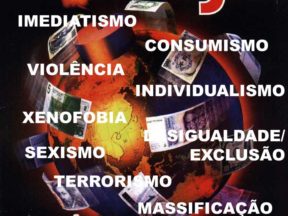 IMEDIATISMO CONSUMISMO VIOLÊNCIA INDIVIDUALISMO SEXISMO XENOFOBIA DESIGUALDADE/ EXCLUSÃO MASSIFICAÇÃO TERRORISMO