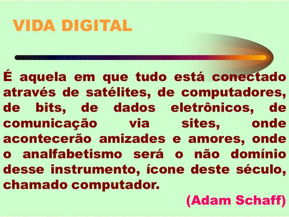 VIDA DIGITAL É aquela em que tudo está conectado através de satélites, de computadores, de bits, de dados eletrônicos, de comunicação via sites, onde