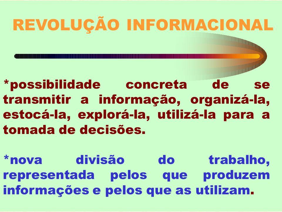 REVOLUÇÃO INFORMACIONAL *possibilidade concreta de se transmitir a informação, organizá-la, estocá-la, explorá-la, utilizá-la para a tomada de decisõe