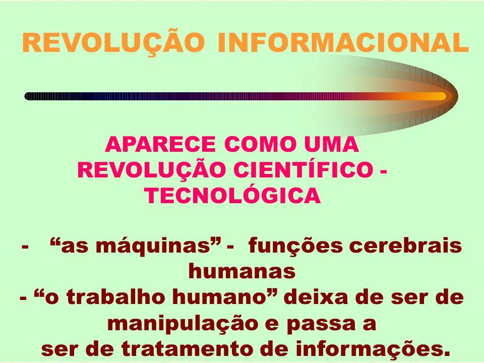 REVOLUÇÃO INFORMACIONAL APARECE COMO UMA REVOLUÇÃO CIENTÍFICO - TECNOLÓGICA - as máquinas - funções cerebrais humanas - o trabalho humano deixa de ser