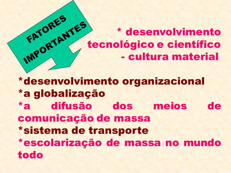 * desenvolvimento tecnológico e científico - cultura material *desenvolvimento organizacional *a globalização *a difusão dos meios de comunicação de m