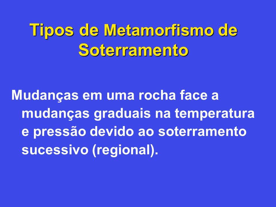 Tipos de Metamorfismo de Soterramento Mudanças em uma rocha face a mudanças graduais na temperatura e pressão devido ao soterramento sucessivo (region