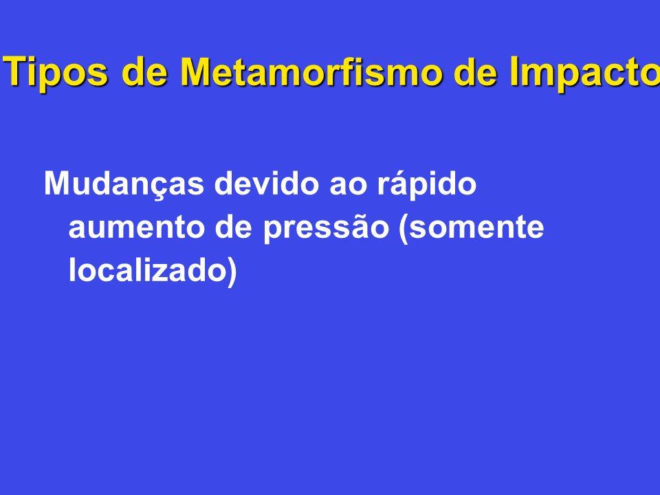 Tipos de Metamorfismo de Impacto Mudanças devido ao rápido aumento de pressão (somente localizado)