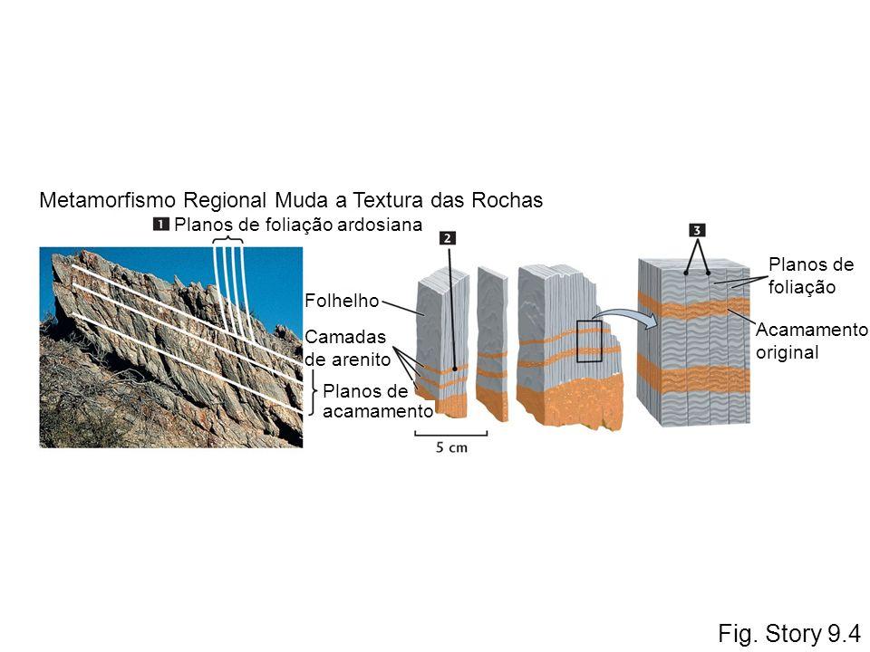 Fig. Story 9.4 acamamento Planos de foliação ardosiana Planos de foliação Acamamento original Folhelho Camadas de arenito Planos de Metamorfismo Regio