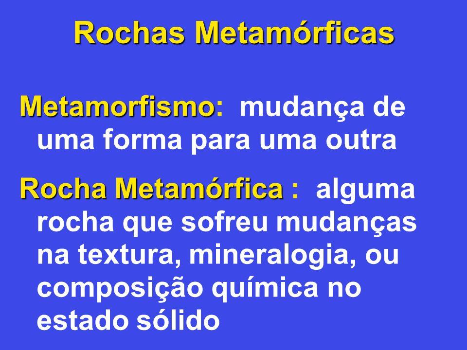 Metamorfismo Metamorfismo: mudança de uma forma para uma outra Rocha Metamórfica Rocha Metamórfica : alguma rocha que sofreu mudanças na textura, mine