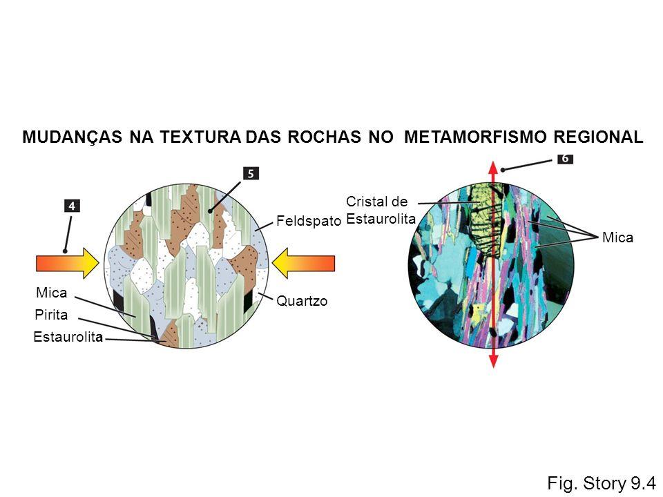 Fig. Story 9.4 MUDANÇAS NA TEXTURA DAS ROCHAS NO METAMORFISMO REGIONAL Pirita Estaurolita Quartzo Feldspato Mica Cristal de Estaurolita