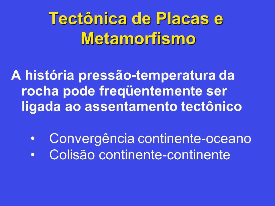 Tectônica de Placas e Metamorfismo A história pressão-temperatura da rocha pode freqüentemente ser ligada ao assentamento tectônico Convergência conti