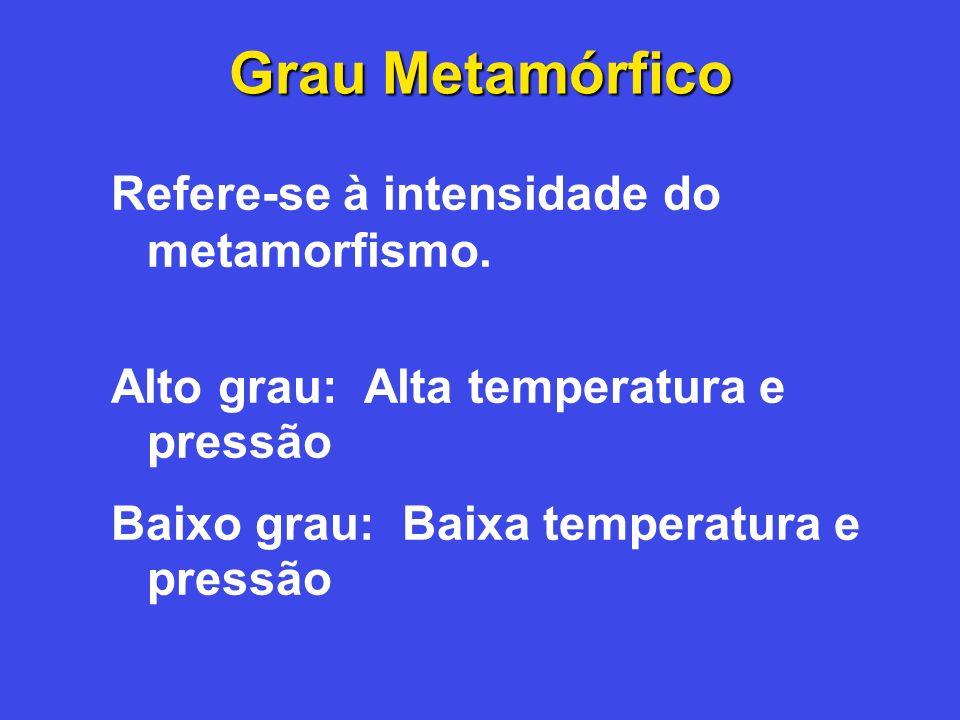 Grau Metamórfico Refere-se à intensidade do metamorfismo. Alto grau: Alta temperatura e pressão Baixo grau: Baixa temperatura e pressão