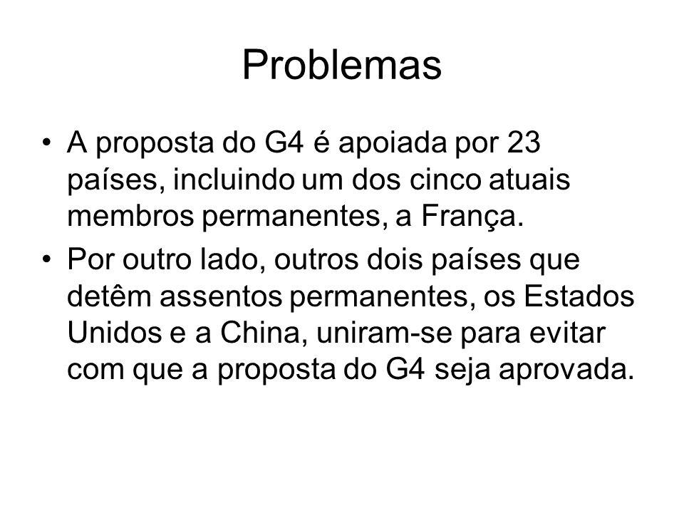 Problemas A proposta do G4 é apoiada por 23 países, incluindo um dos cinco atuais membros permanentes, a França. Por outro lado, outros dois países qu