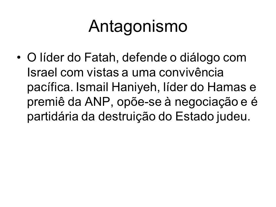 Antagonismo O líder do Fatah, defende o diálogo com Israel com vistas a uma convivência pacífica. Ismail Haniyeh, líder do Hamas e premiê da ANP, opõe