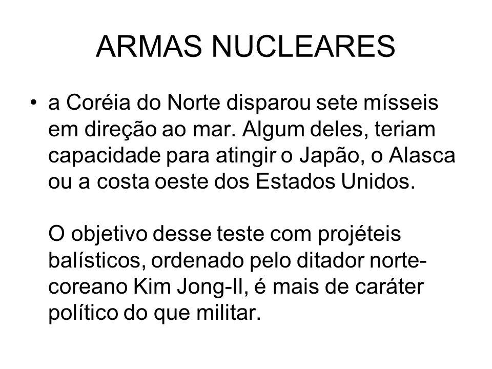 ARMAS NUCLEARES a Coréia do Norte disparou sete mísseis em direção ao mar. Algum deles, teriam capacidade para atingir o Japão, o Alasca ou a costa oe