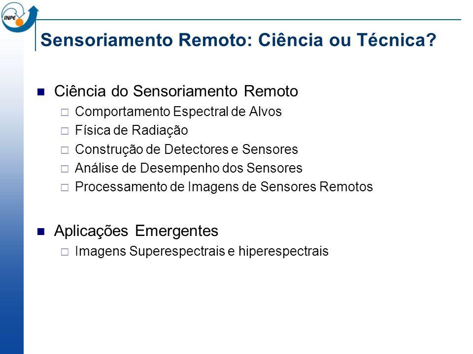 Sensoriamento Remoto: Ciência ou Técnica? Ciência do Sensoriamento Remoto Comportamento Espectral de Alvos Física de Radiação Construção de Detectores