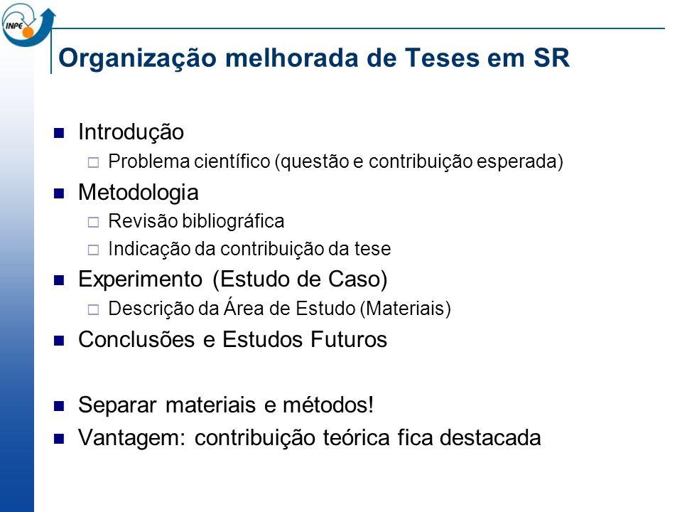 Organização melhorada de Teses em SR Introdução Problema científico (questão e contribuição esperada) Metodologia Revisão bibliográfica Indicação da c