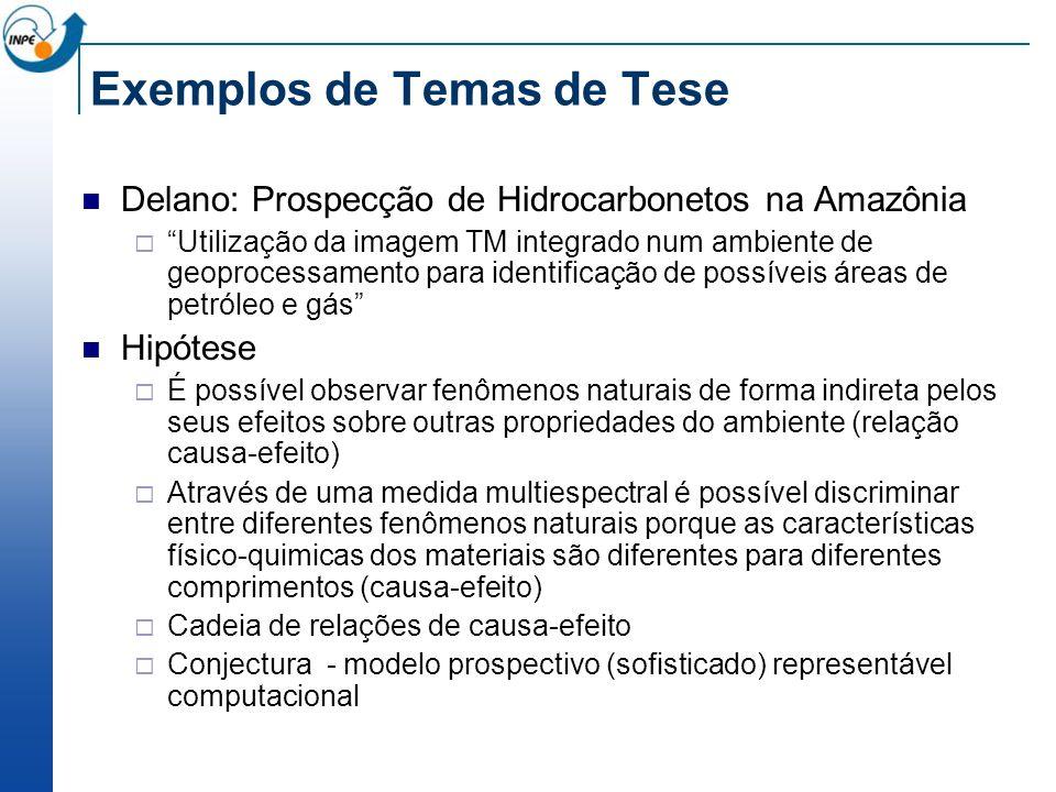 Exemplos de Temas de Tese Delano: Prospecção de Hidrocarbonetos na Amazônia Utilização da imagem TM integrado num ambiente de geoprocessamento para id