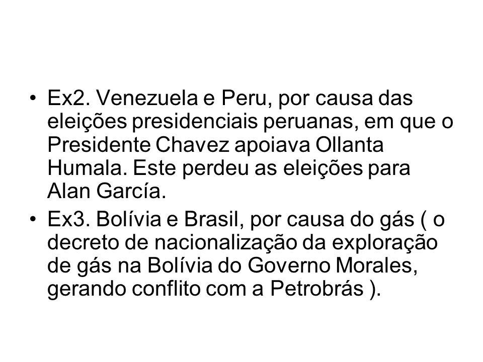 Ex2. Venezuela e Peru, por causa das eleições presidenciais peruanas, em que o Presidente Chavez apoiava Ollanta Humala. Este perdeu as eleições para