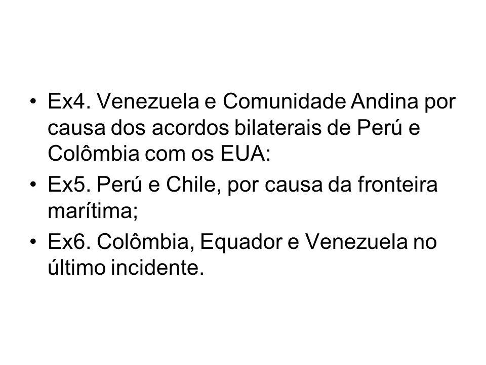 Ex4. Venezuela e Comunidade Andina por causa dos acordos bilaterais de Perú e Colômbia com os EUA: Ex5. Perú e Chile, por causa da fronteira marítima;