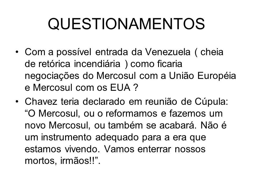QUESTIONAMENTOS Com a possível entrada da Venezuela ( cheia de retórica incendiária ) como ficaria negociações do Mercosul com a União Européia e Merc
