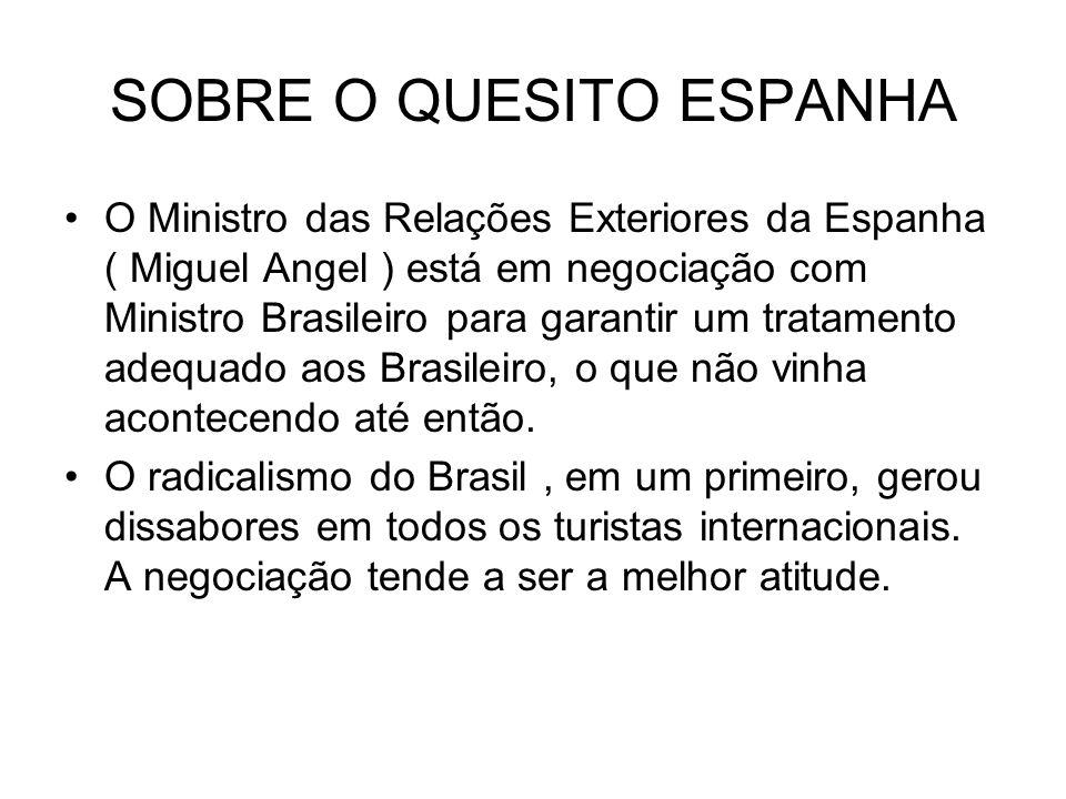 SOBRE O QUESITO ESPANHA O Ministro das Relações Exteriores da Espanha ( Miguel Angel ) está em negociação com Ministro Brasileiro para garantir um tra