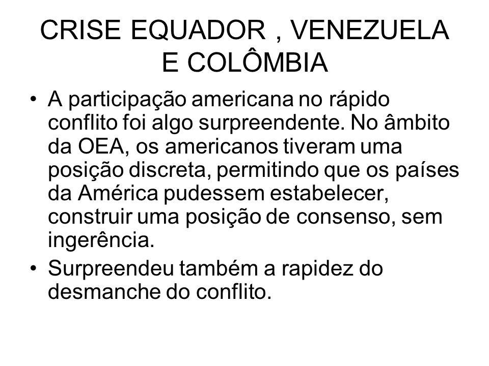 CRISE EQUADOR, VENEZUELA E COLÔMBIA A participação americana no rápido conflito foi algo surpreendente. No âmbito da OEA, os americanos tiveram uma po